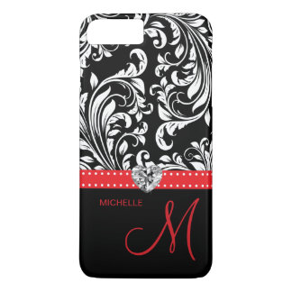 Black & White Damask with Diamond Heart & Monogram iPhone 7 Plus Case