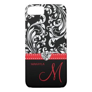 Black & White Damask with Diamond Heart & Monogram iPhone 8/7 Case