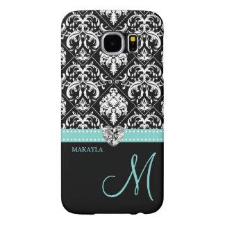 Black & White Damask with Diamond Heart & Monogram Samsung Galaxy S6 Case