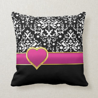 Black white damask with hot pink band and heart pillow