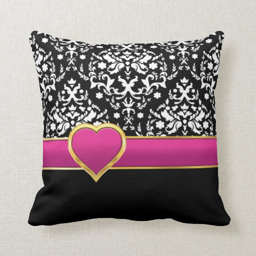Damask Throw Pillows Black White : Black white damask with hot pink band and heart throw pillow Zazzle