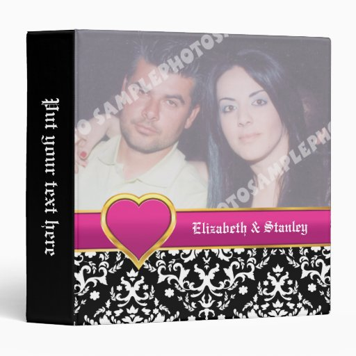 Black white damask with hot pink heart wedding 3 ring binders