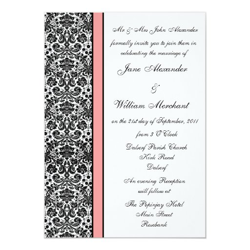 Black & White Damask with Pale Pink Band Card