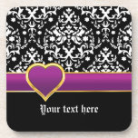 Black white damask with purple band and heart drink coasters