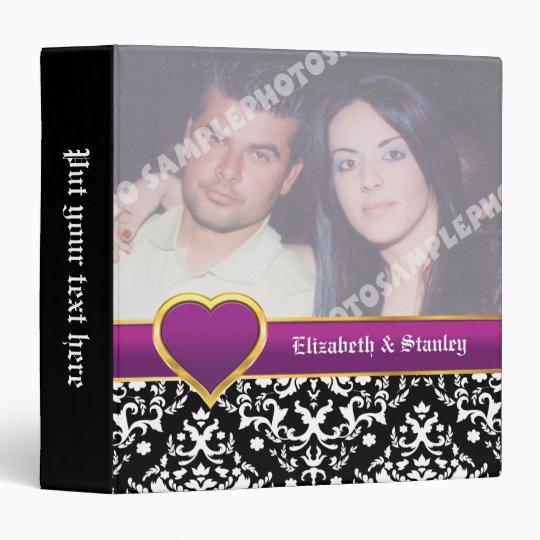 Black white damask with purple heart wedding binder
