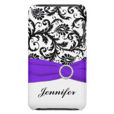 Black & White Damask With Purple Ipod Touch Case at Zazzle