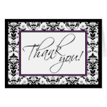 Black & White Damask with Purple Thank You Card