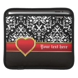 Black white damask with red band and heart iPad sleeve