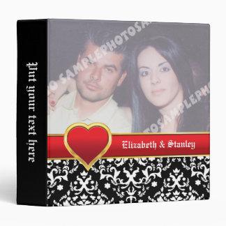 Black white damask with red band & heart wedding binder