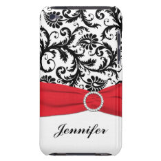 Black & White Damask With Red Ipod Touch Case at Zazzle