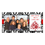Black & White Damask With Red Tree Merry Christmas Custom Photo Card