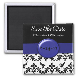Black White Damask WIth Royal Blue Save The Date Refrigerator Magnet