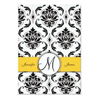 Black White Damask Yellow Wedding RSVP Card