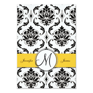 Black White Damask Yellow Wedding RSVP 3.5x5 Paper Invitation Card