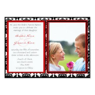 "Black & White Damask Your Photo Wedding Invitation 5"" X 7"" Invitation Card"