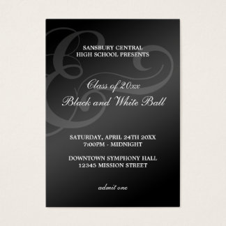 Black white dance formal prom bid admission ticket