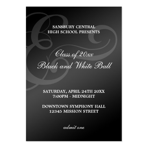 Black white dance formal prom bid admission ticket large business cards (Pack of 100)