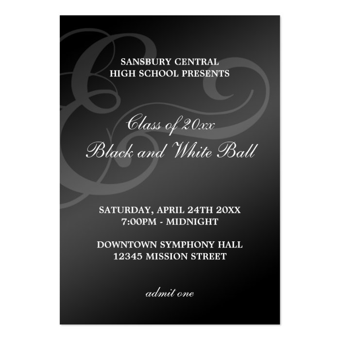 Black white dance formal prom bid admission ticket large business card