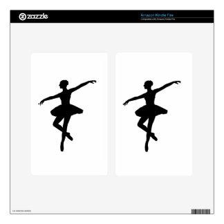 Black & White Dancing Ballerina Silhoutte Kindle Fire Skins