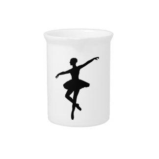 Black & White Dancing Ballerina Silhoutte Pitcher
