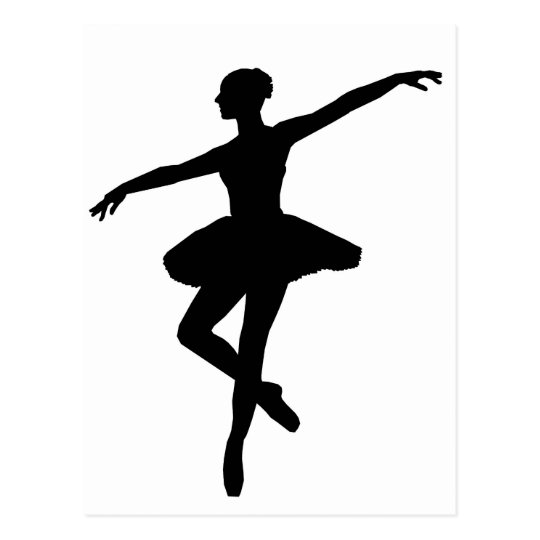 Black White Dancing Ballerina Silhoutte Postcard Zazzle Com