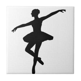 Black & White Dancing Ballerina Silhoutte Tile