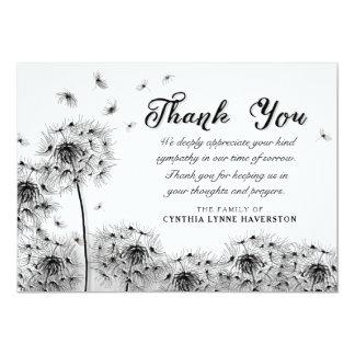 Black & White Dandelion Thank You Sympathy Card