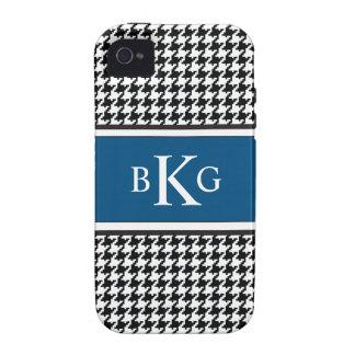 Black White Dark Blue Houndstooth Pattern iPhone 4 Case