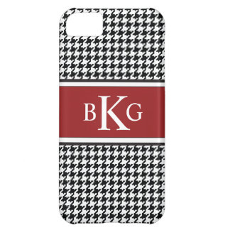 Black White Dark Red Houndstooth Pattern iPhone 5C Cases