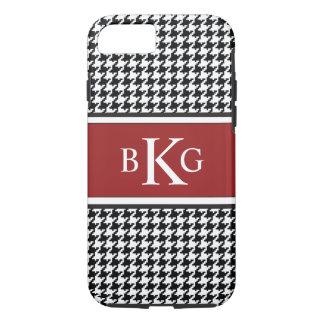 Black White Dark Red Houndstooth Pattern iPhone 8/7 Case