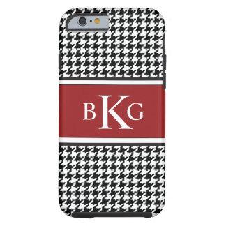 Black White Dark Red Houndstooth Pattern iPhone 6 Case
