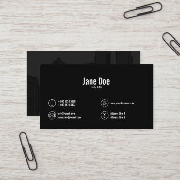 Black White Darkened Photo Contact Icons Business Card