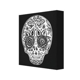 Black & White Day of the Dead Skull Art on Canvas