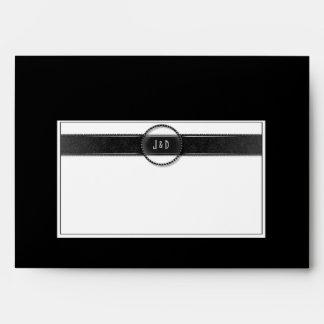 Black White Deco Matching WEDDING Initials Envelope