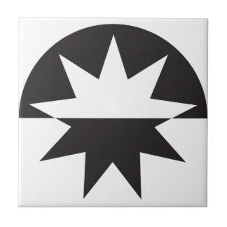 Black White Deco Star Sunburst Tile