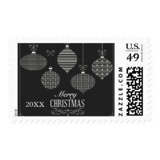 Black & White Decorative Christmas Balls Postage
