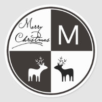 Black, white deer Merry Christmas monogram modern Classic Round Sticker