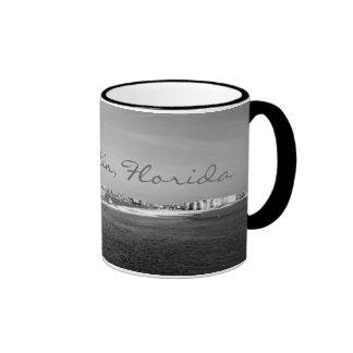 Black & White Destin Florida harbor coffee mug