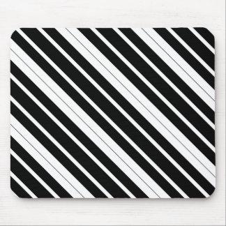 Black & White Diagonal Stripes Mouse Pad