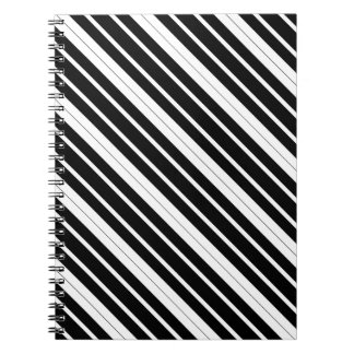 Black & White Diagonal Stripes Notebook