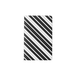 Black & White Diagonal Stripes Pocket Moleskine Notebook