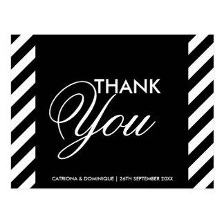 Black & White Diagonal Stripes Thank You Post Card