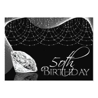 Black & White Diamond 50th Birthday Invitations