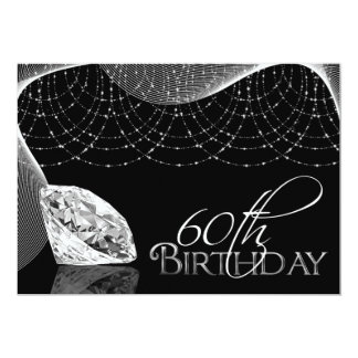Black & White Diamond 60th Birthday Invitations