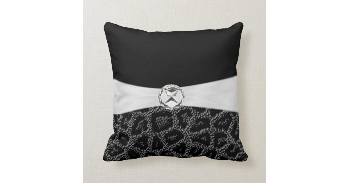Black White Diamond Accent Leopard Print Throw Pi Pillow Zazzle