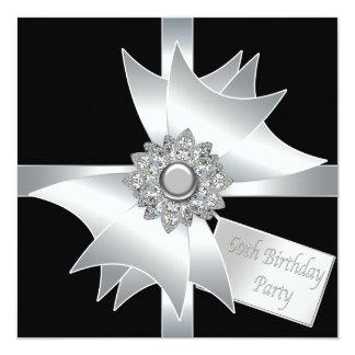 Black White Diamond Bow Womans 60th Birthday Party Card