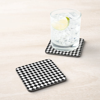 Black White Diamond Check pattern Beverage Coaster