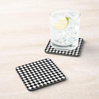 Black White Diamond Check pattern Beverage Coasters