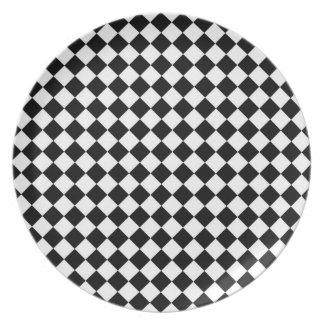 Black White Diamond Check pattern Dinner Plate