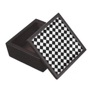 Black White Diamond Check pattern Keepsake Box